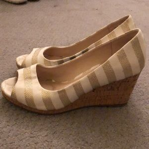 Gold and white peep toe wedges